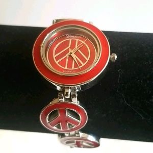 PEACE SIGN Ladies Watch Red and Silver